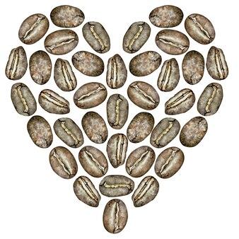 Coração de feijão de café em aquarela. ilustração desenhados à mão.
