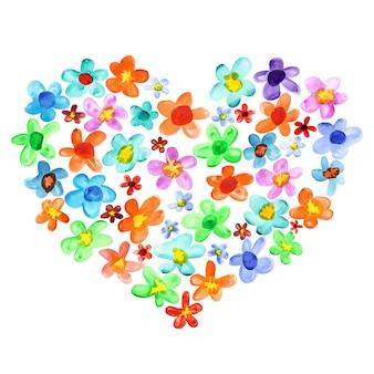 Coração de flores em aquarela