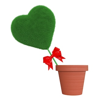 Coração de grama verde com fita vermelha em vaso de flores em um fundo branco. renderização 3d