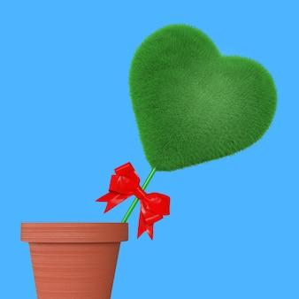 Coração de grama verde com fita vermelha em vaso de flores sobre fundo azul. renderização 3d