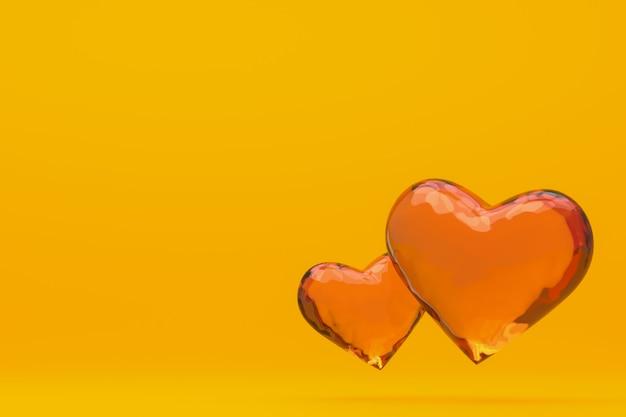 Coração de mel no fundo amarelo renderização em 3d fundo para dia dos namorados, coração de mel no dia do amor