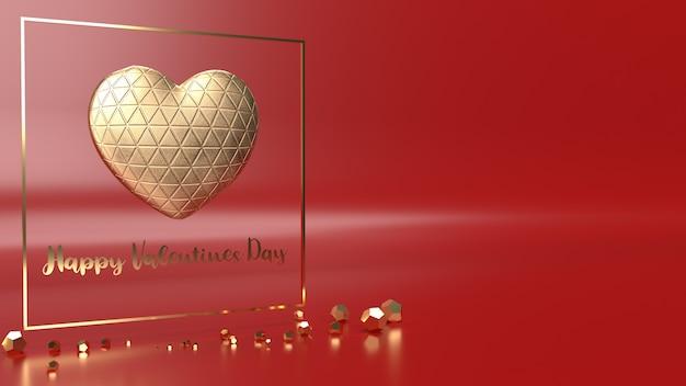 Coração de ouro e ouro fram renderização em 3d para o conteúdo do dia dos namorados.