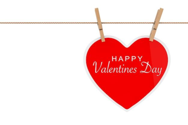 Coração de papel vermelho com sinal de feliz dia dos namorados pendurado em uma corda em um fundo branco. renderização 3d