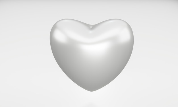 Coração de prata em branco