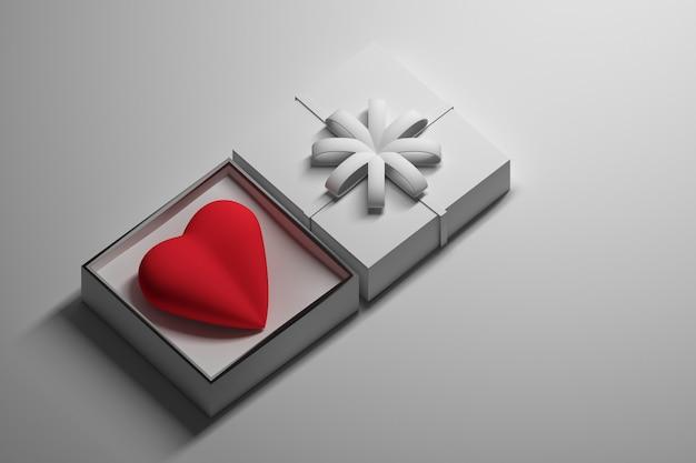 Coração de presente em uma caixa