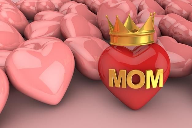 Coração de renderização 3d com a mãe escrita nele e uma coroa com mais corações atrás em fundo rosa claro