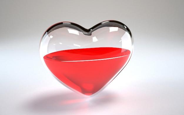 Coração de vidro cheio de vinho dentro
