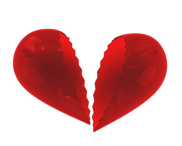 Coração de vidro quebrado isolado no fundo branco. o conceito de um lar desfeito, término de relações. ilustração 3d.
