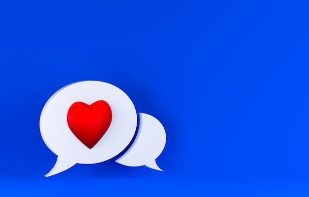 Coração dentro da bolha do discurso