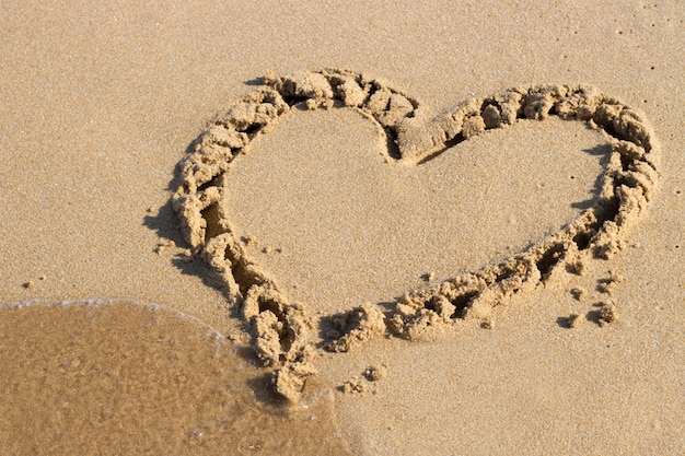 Coração desenhado na areia e mar, vista de cima
