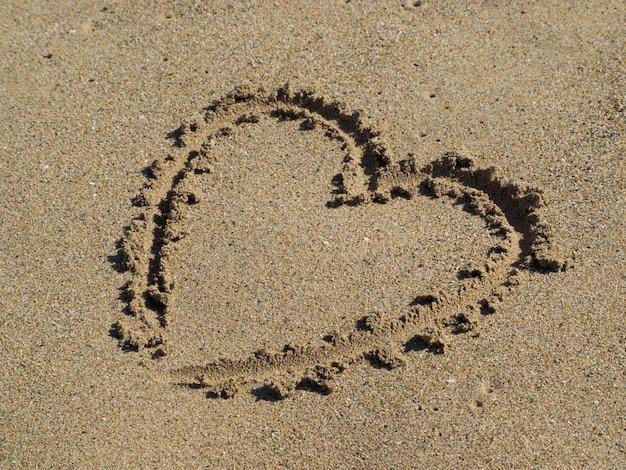 Coração, desenhando um dedo na areia.