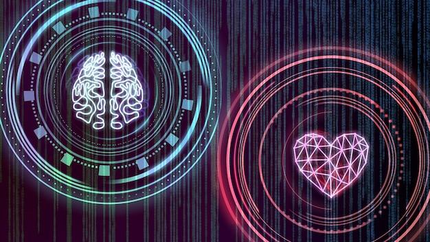 Coração e cérebro. interface digital