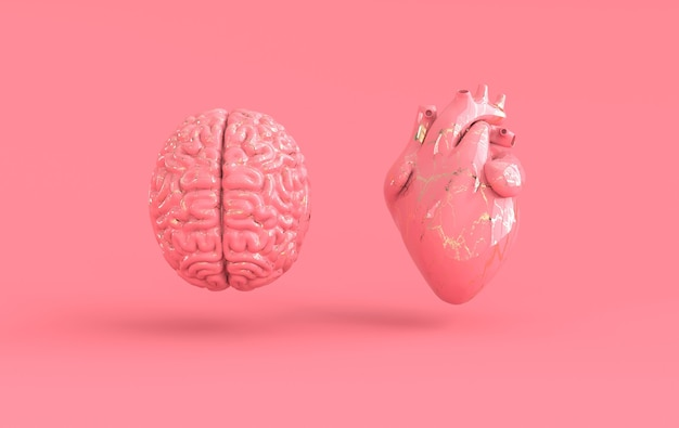 Coração e cérebro, renderização em 3d emoções e conceito de conflito de pensamento racional