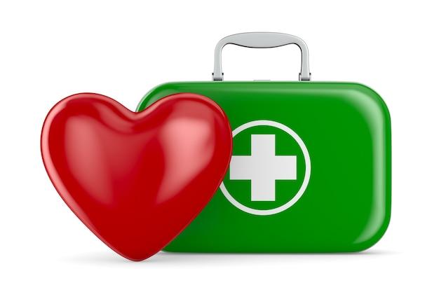 Coração e kit de primeiros socorros em fundo branco. ilustração 3d isolada