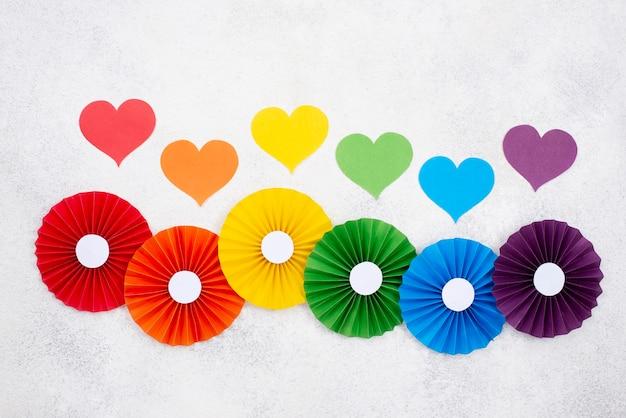 Coração e origami colorido