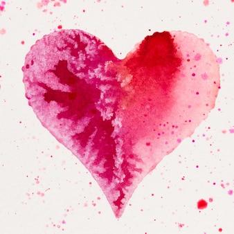 Coração em aquarela. cartão de greating de dia dos namorados, amor, relacionamento, arte, pintura.