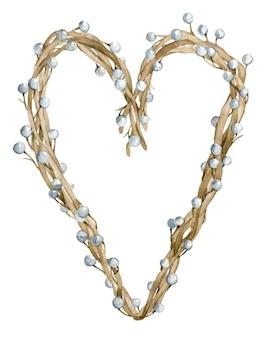Coração em aquarela feito de galhos de árvores com bagas ou pérolas