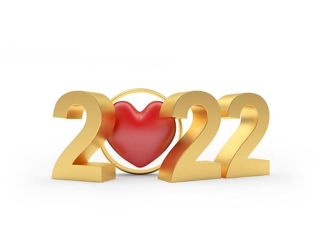 Coração em uma aliança de casamento com número dourado de ano novo