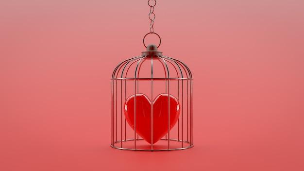 Coração está trancado em uma gaiola.
