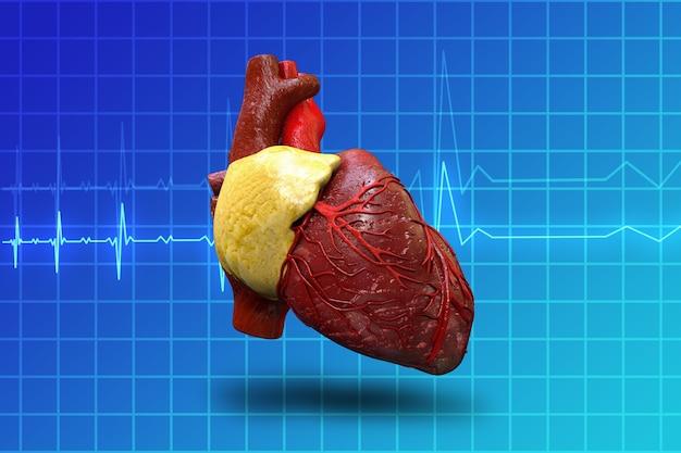 Coração humano no fundo do monitor azul ilustração 3d