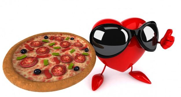 Coração ilustrado engraçado segurando uma pizza