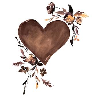 Coração marrom aquarela e flores negras