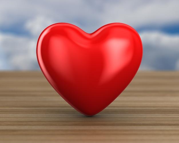 Coração na superfície de madeira. ilustração 3d