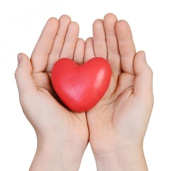 Coração nas mãos de um menino isolado em um fundo branco