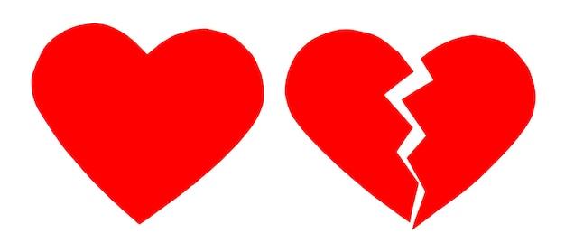 Coração partido / coração partido vermelho. close-up de um coração partido de papel em fundo branco com traçado de recorte