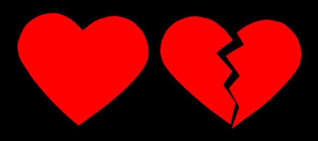 Coração partido / coração partido vermelho. close-up de um coração partido de papel em fundo preto com traçado de recorte