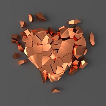 Coração partido de cobre