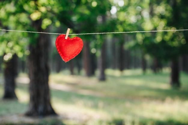 Coração pendurado no varal. conceito de amor e dia dos namorados