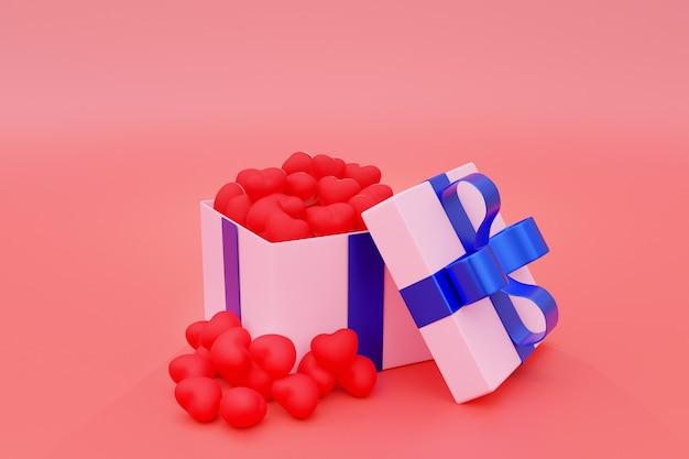 Coração pequeno vermelho em caixa de presente rosa em rosa