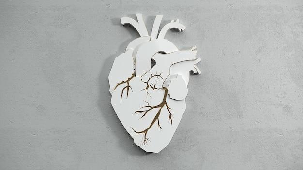 Coração plano abstrato sobre o conceito de superfície de pedra. modelo de controle deslizante de site de web de espaço de cópia de médico ou cirurgião. ilustração 3d