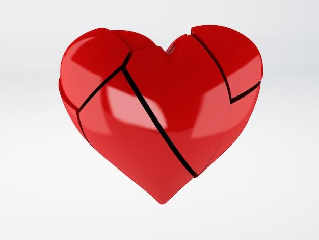 Coração quebrado vermelho om fundo branco