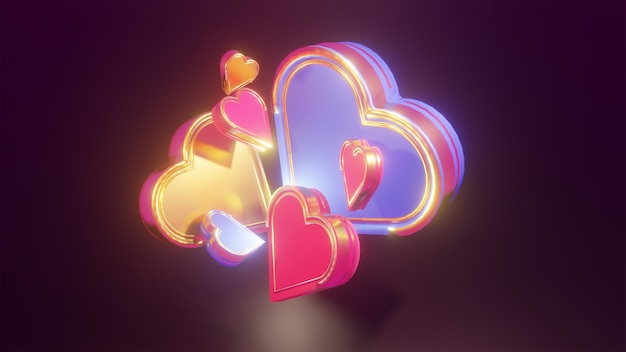 Coração rosa, azul e dourado 3d brilhando em fundo escuro para elementos de design do dia dos namorados