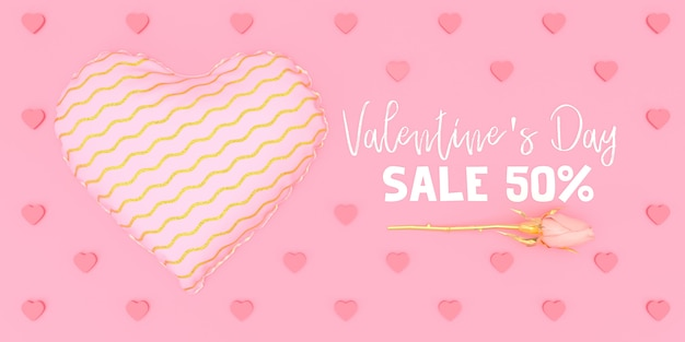 Coração rosa com padrão de compras ilustração dia dos namorados no fundo rosa 3d render