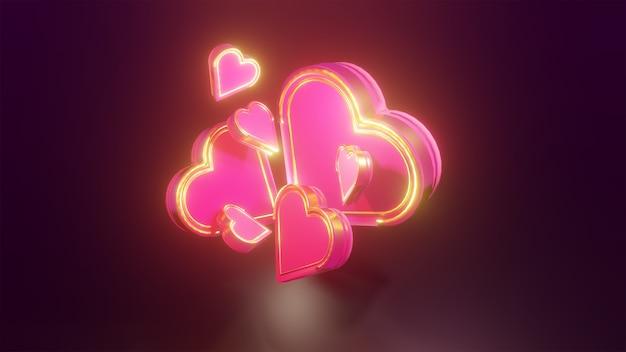 Coração rosa e dourado 3d brilhando em fundo escuro para elementos de design do dia dos namorados