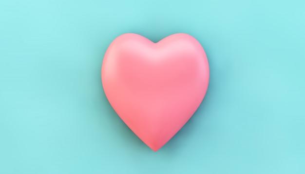 Coração rosa em azul