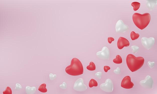 Coração vermelho, branco sobre rosa