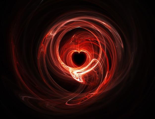 Coração vermelho brilhante em fundo escuro