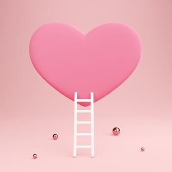 Coração vermelho com escada e esferas metálicas