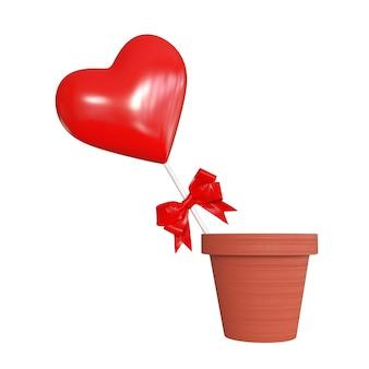 Coração vermelho com fita vermelha em vaso de flores em um fundo branco. renderização 3d