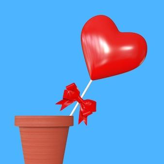 Coração vermelho com fita vermelha em vaso de flores sobre fundo azul. renderização 3d