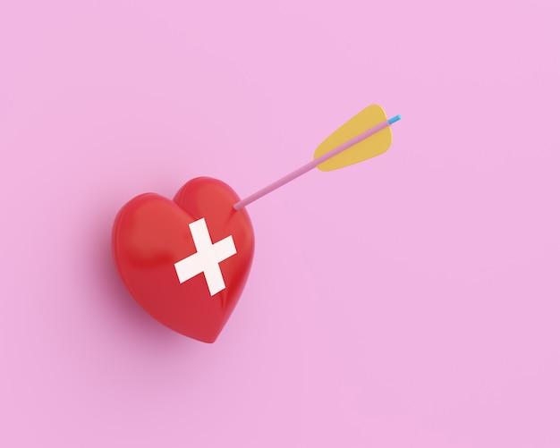 Coração vermelho da disposição criativa da ideia com a seta com os cuidados médicos do ícone médicos no fundo pastel cor-de-rosa.