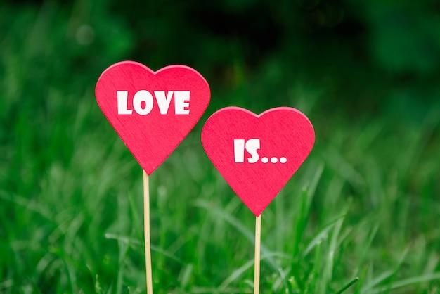 Coração vermelho de madeira no fundo do verão