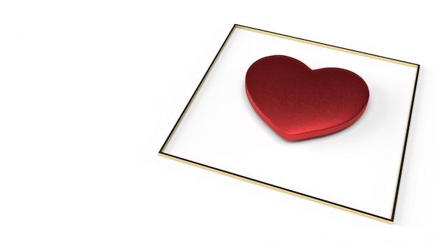 Coração vermelho e ouro renderização 3d fram para o conteúdo do dia dos namorados.