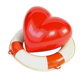 Coração vermelho e uma bóia de vida, isolada no fundo branco.