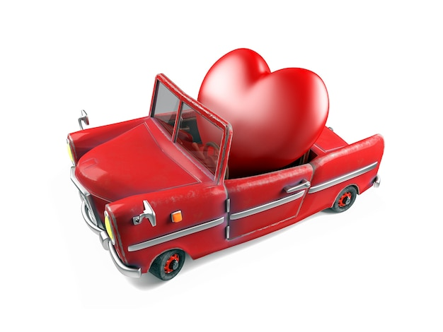 Coração vermelho em carro esporte de desenho animado, conceito de tema de dia dos namorados