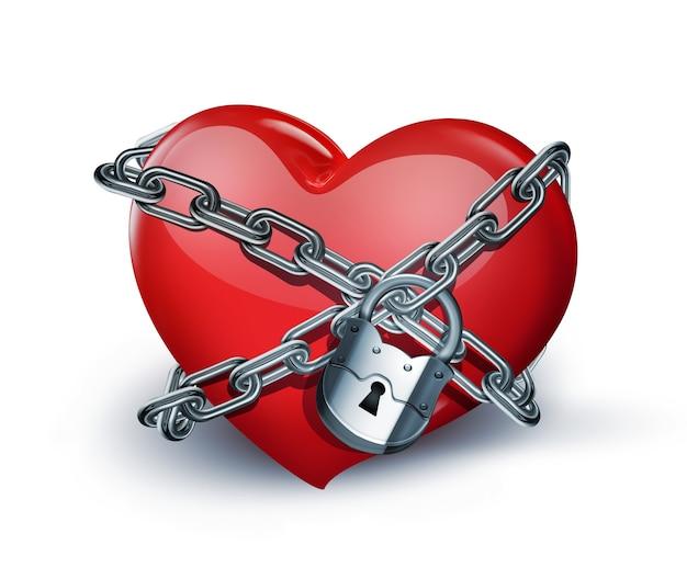 Coração vermelho em close up de correntes em fundo branco
